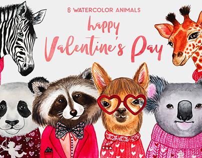 Valentine's Day. Watercolor animals