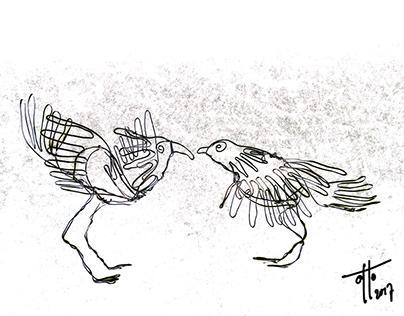 Wire sculptures Birds