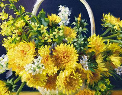 Original Dandelion Flowers Basket oil canvas painting