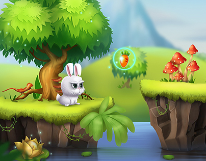 Angry rabbit game concept