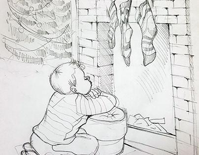 """Набросок к иллюстрации """"Малыш2"""