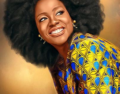 Viola Davis Digital Oil Painting by Wayne Flint