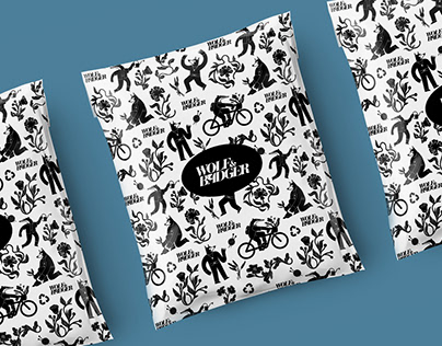 Packaging Illustration Pattern for Wolf Badger