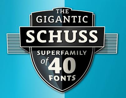 Schuss Sans, Slab, News And Serif – My Superfamily