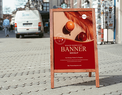 Free Wooden Stand Banner Mockup