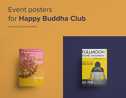 Event posters for Happy Buddha Club