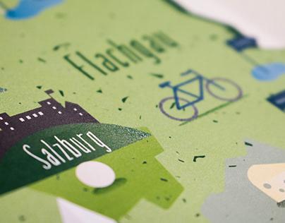Illustrierte Karte für Urlaub am Bauernhof Salzburg