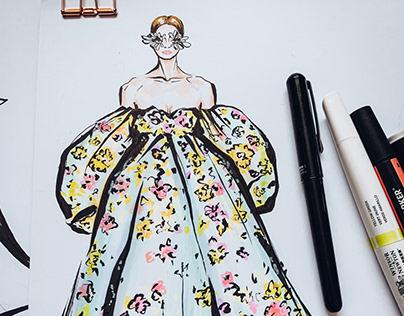 Fashion illustration. Valentino Couture Spring 2019