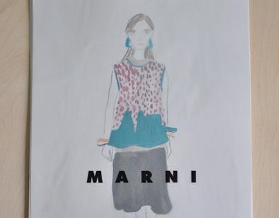 MARNI runway fashion illustrations