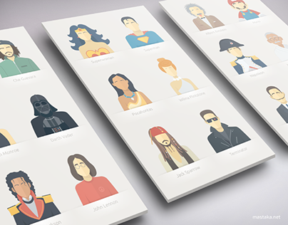 Portraits of Celebrities in a Flat Style