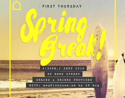 Spring Break First Thursday Party Invite