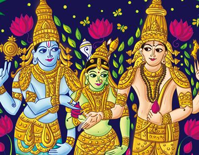Tanjore Art Inspired Tamil Brahmin Wedding Invitation