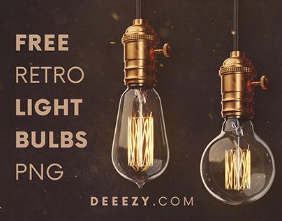 Free Retro Light Bulbs PNG Graphics