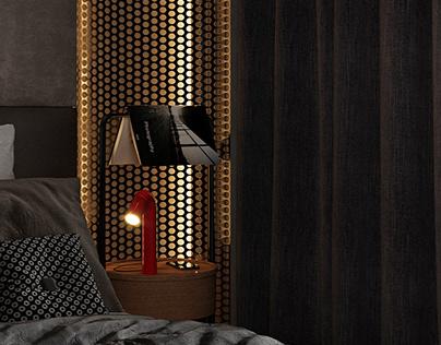 Black interior. Bedroom.