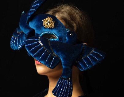 Blue birds family mask