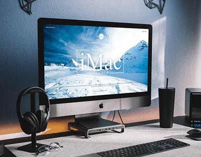 Free Modern Workstation iMac Mockup