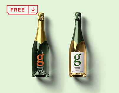 Free Champagne Bottle Mockup