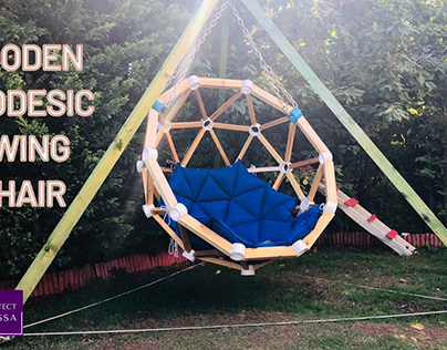 Wooden Geodesic Swing Chair with Tripod Stand Design