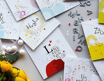Serija voščilnic / A set of cards for special occasions