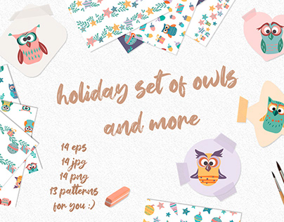set of vector holiday owls