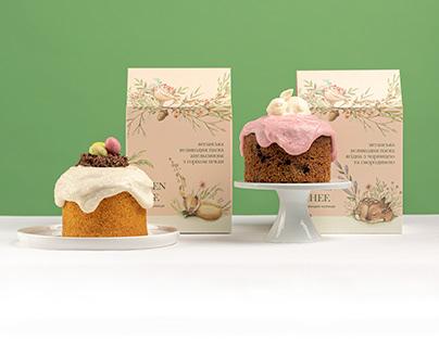 Vegan Easter cake and kombucha drink design packaging