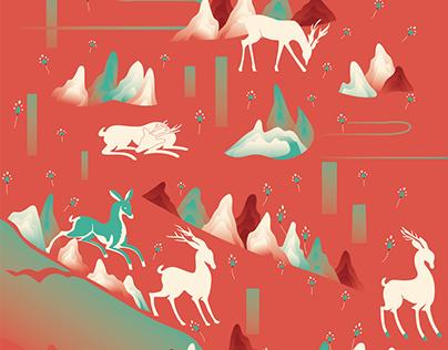 敦煌七色鹿 Dunhuang's seven-color deer
