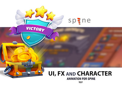 UI, FX and character animation for spine