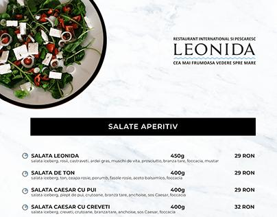 Leonida - Costinesti - Menu page