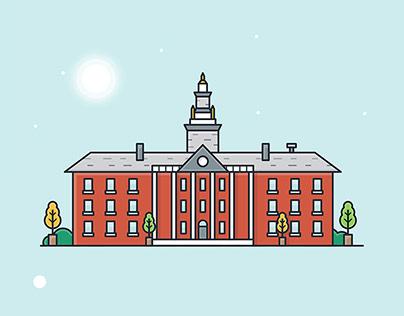 Harvard University - Flat outlined illustration