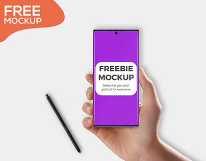 Free Galaxy Note 10+ in Hnad Mockup