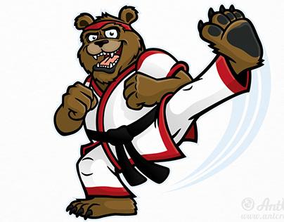 Martial Arts Bear Character Design Illustration