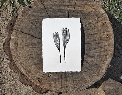 Linocut flowers