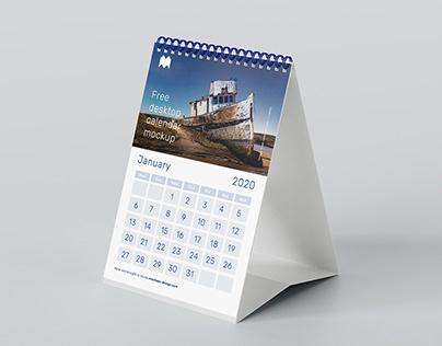 Free A5 desk calendar mockup
