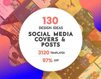130 in 1 Social Media Design Templates Bundle