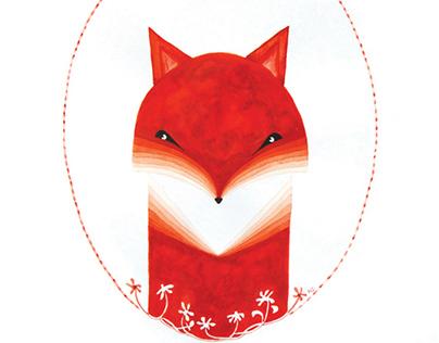 Fox. Watercolor illustration.