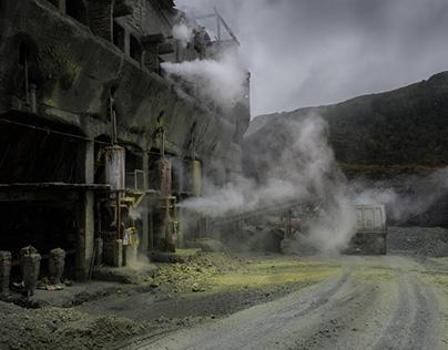 Las minas de azufre del Vocán Puracé.