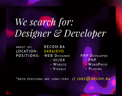 We search for Designer & Developer - Sarajevo