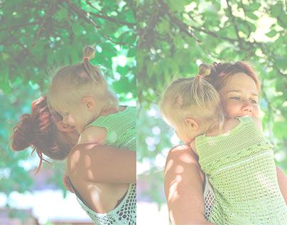 Fotosessioon ema ja tütrega