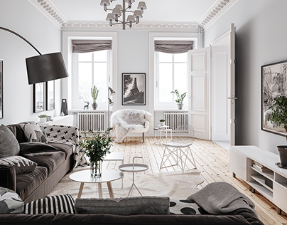 Interior visualization/ scandinavian style