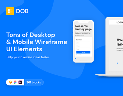 DOB Desktop & Mobile Wireframe Web UI Kit