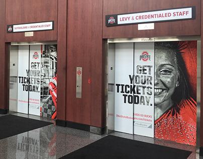 Large-Scale Elevator Signage at Ohio Stadium