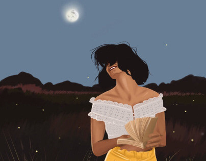 Illustration girl  and sunset