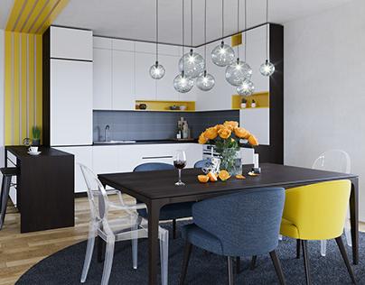 Yellow detailed kitchen