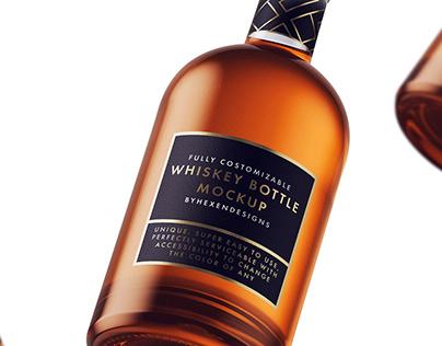 Whiskey-Nordic Bottle Mockup + Free Sample