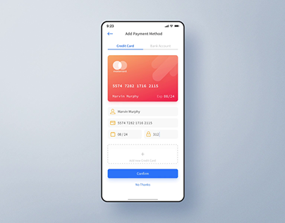 Add Credit Card - Interaction