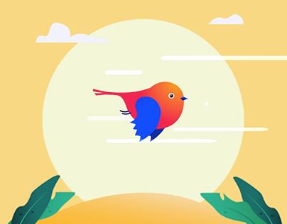 Tiny bird flying