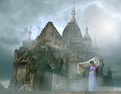 myanmar woman and Bagan