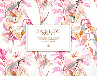 Rainbow Flowers - watercolor clipart and patterns