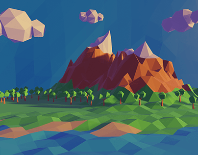 Low poly illustration: nature.