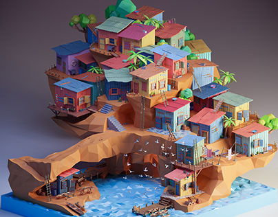 Fishing village - low poly 3D
